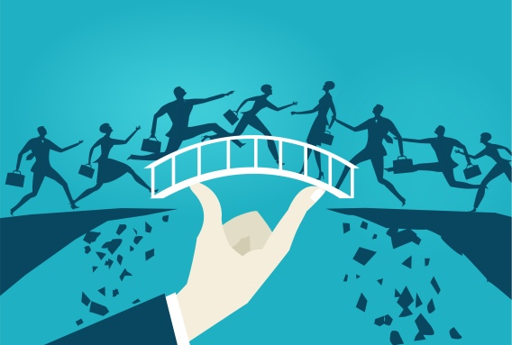 Business people running over the safe bridge from the falling canyons. Opportunity and taking a risk concept illustration.